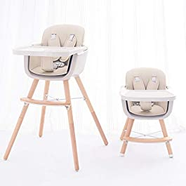 FUNNY SUPPLY 3-in-1 Convertible Wooden High Chair with Removable Tray and Adjustable Legs and Cushion
