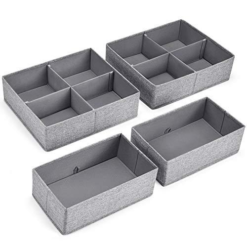 MaidMAX Aufbewahrungsbox für Schubladen, Schubladen Organizer aus Stoff, Faltbare Schubladeneinsätze, Ordnungssystem für Schrank Schublade, Ordnungshelfer für Unterwäsche Socken, 4er Set Grau