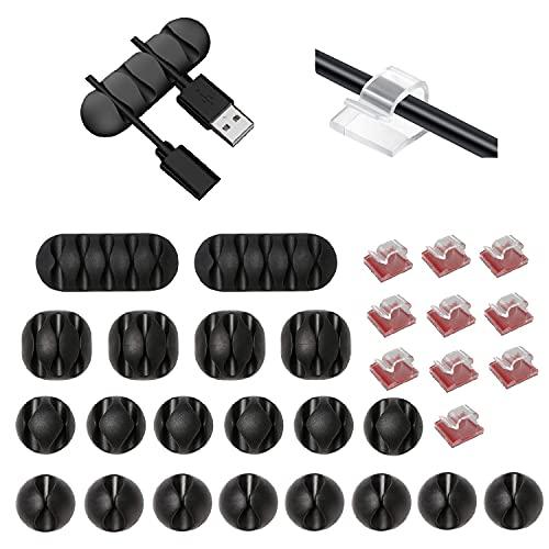 Paquete de 30 clips de silicona para organizar cables, soporte de cable de escritorio, gestión de cables para automóvil/escritorio/hogar y oficina. (Negro y transparente)