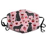 Máscara de Boca Unisex Antipolvo, máscara de la Gripe Kawaii, Reutilizable, para Hombres y Mujeres, Labrador Negro, Perro de San Valentín, Lindo Amor Perros