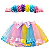 MY-PRETTYGS Toddlers Layered Tulle Rainbow Tutu Skirt with Flower Crown Wreath Headband for Baby Girls 0-24 Months.(Light Rainbow)