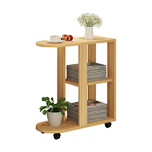Tables basses Chariot à thé côté Coin Mobile Armoire de côté canapé Petite Table de Chevet Mini Table (Color : Brown, Size : 60 * 30 * 66.4cm)
