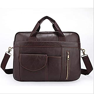 FYXKGLan Men's Solid Color Business Briefcase Genuine Leather Bag Shoulder Messenger Bag Layer Cowhide Handbag (Color : Coffee)
