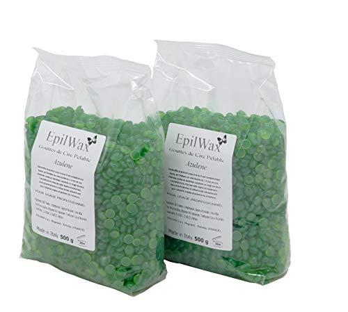 EPILWAX S.A.S - Perles de cire à épiler Pelable À L'Azuléne - sachet de 1kg Cire Chaude Réutilisable