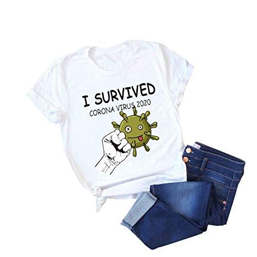 QQI Magliette con Stampa I Survived Coronavirus 2020 per Uomo e Donna Estate Basic Girocollo Sottile T-Shirt Manica Corta Unisex Casuale Camicia Top