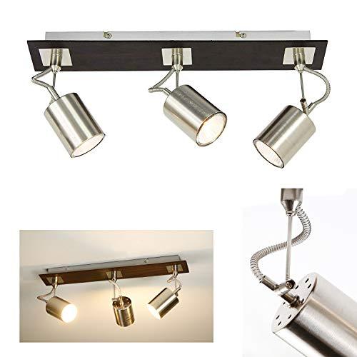 ZMH Lámpara de techo orientable con 3 focos Focos giratorios Plafón moderna para salón GU10 230 V IP20 Níquel mate