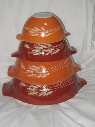 SET OF 4 - Vintage 1980's Pyrex ' Autumn Harvest Wheat ' Cinderella Mixing Nesting Batter Bowl Set - 1 1/2 Pint, 1 1/2 Quart, 2 1/2 Quart & 4 Quart