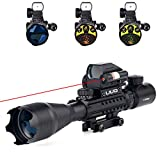 UUQ 4-16x50 Tactical Rifle Scope Red/Green Illuminated Range Finder Reticle W/RED(Green) Laser Sight