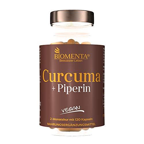 BIOMENTA Curcuma + Piperin - mit 800 mg Curcuma Extrakt (davon 760 mg Curcumin), 300 mg Kurkuma Pulver + Bioperine Piperin - 120 Curcuma Kapseln hochdosiert – vegan - 2 Monatskur