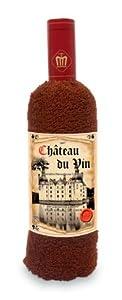 Handtuchweinflasche aus Plüsch im edlen Rotwein Design, schönes Geschenk für wahre Weinliebhaber mit Überraschungseffekt