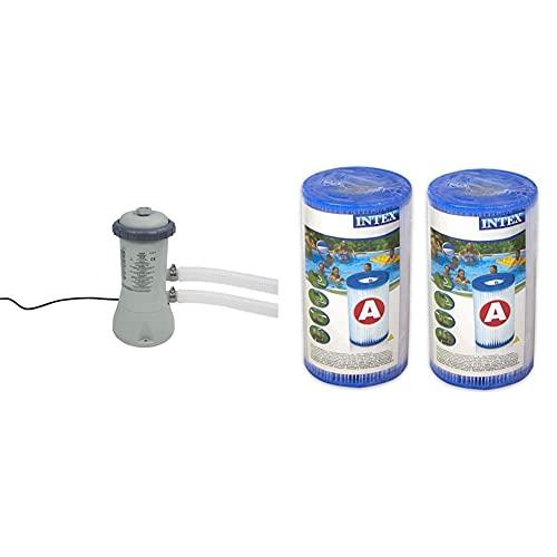 Intex 900Gph Cartridge Filter Pump, Gris, 18.8X 19.4X 35.4Cm + 29002 Cartucho Para Filtros Para Piscinas, 2 Unidades