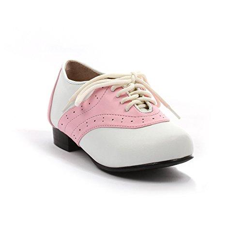 Ellie Shoes 1 Inch Heel Saddle Shoe Children's (Pink/White;Large)