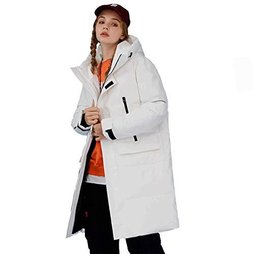 MAZ Warm Winter Langmantel, Winddicht Fleece Outdoor Outdoor Casual Mantel Mantel Mit Kapuze, Mäntel Parka Baumwolle Daunenmäntel, Für Paare Daunenjacke Outdoor Jacken,Weiß,Xl.