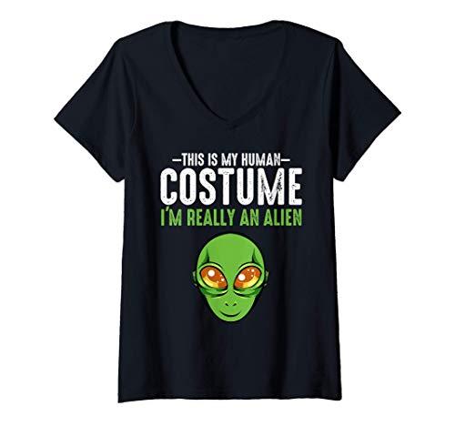 Mujer Este es mi disfraz humano Divertido Cosmos alienígena Camiseta Cuello V
