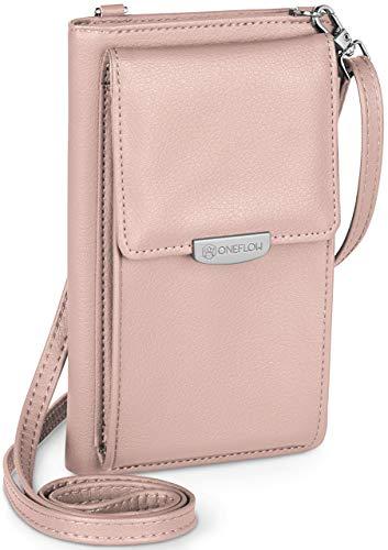ONEFLOW Handy Umhängetasche Damen klein kompatibel mit alle Elephone - Handytasche zum Umhängen mit Geldbörse, Schultertasche Vegan Leder, Cameo Rosa