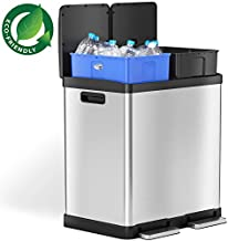 iTouchless 16 Gallon Dual Step Trash Can & Recycle Bin, Stainless Steel includes 2 x 8 Gallon (30L) Removable Buckets with Handles, Soft Close Lid and Airtight
