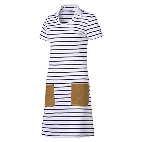 PUMA Robe de Golf 2019 à Manches Courtes pour Femme XL Blanc/Rayures Indigo