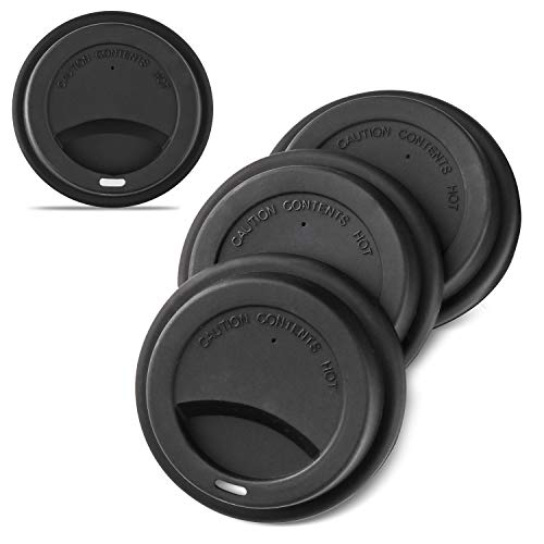 Silicone Coffee Cup Lid Set of 4, KSENDALO Thinner Softer Lids for Various Cups, Reusable Silicone Travel Mug Covers for 12oz/16oz Coffee Cups, 1.0 Oz/pc Reusable Silicone Cup Cover,Black