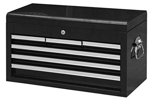 Werkzeugkiste, Aufsatz, groß, mit 6 Schubladen, schwarz