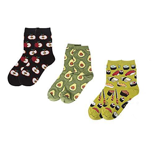 CAILI Herren & Damen Sneaker Socken ,Spaß-Nachtisch-Lebensmittelfrucht-Muster-kreative Design-Socken,Lange Haltbarkeit Dank Bester Qualität(3x Paar)