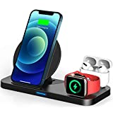 Updated Version 3 in 1 Wireless Charger for Apple Watch & AirPods Charging Dock Station, Nightstand Mode for iWatch Series SE/6/5/4/3/2/1, Fast Charging for iPhone 12/11/Pro Max/XR/XS Max/Xs/X/8/8P