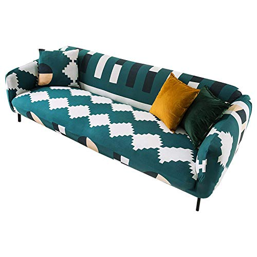 Funda Sofas 2 y 3 Plazas Cuadrado Verde Oscuro Fundas para Sofa con Diseño Elegante Universal,Cubre Sofa Ajustables,Fundas Sofa Elasticas,Funda de Sofa Chaise Longue,Protector Cubierta para Sofá