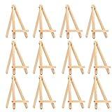 Lot de 12 chevalets en bois de 15cm - Marque-place ou support pour menu de mariage, mini chevalet pour peintures et projets créatifs