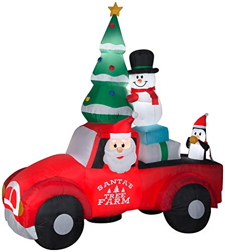 Christmas Holiday Vintage Truck Scene 8ft Wide Inflatable