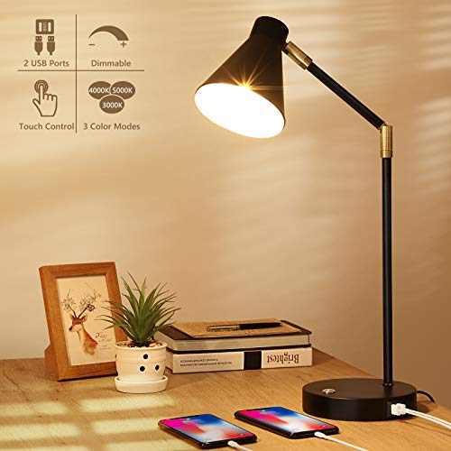 LED Desk Lamp with USB Charging Port, Swing Arm, 3 Color Modes, Fully Dimmable, Touch Control Black Metal Architect Drafting Table Lamp, Eye-Caring Task Lamp for Bedroom Work Office Reading