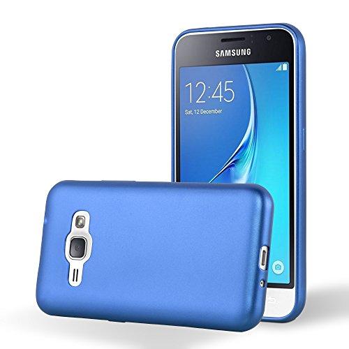 Cadorabo Custodia per Samsung Galaxy J1 2016 in Azzurro Metallico - Morbida Cover Protettiva Sottile di Silicone TPU con Bordo Protezione - Ultra Slim Case Antiurto Gel Back Bumper Guscio