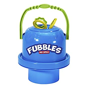 Little Kids Fubbles No-Spill Big Bubble Bucket in Blue for Multi-Child Play Made in the USA
