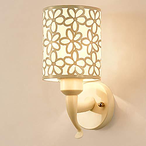 OurLeeme Lámpara de pared junto a la cama apliques de pared sencillos, patrón de flor de hierro Pantalla, luz de noche moderna para el pasillo sala de estar del dormitorio (no incluye bombilla)