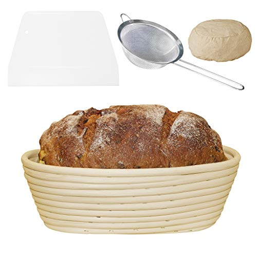 10Inch(1.5LBS DOUGH)Bread Banneton Proofing Basket Set:Sourdough Bread Bakery Basket&Baking Bowl Dough(NATURAL RATTAN);Dough Scraper&Dough Cutter;Stainless Steel Strainer;Cloth Liner By Best_Childhood