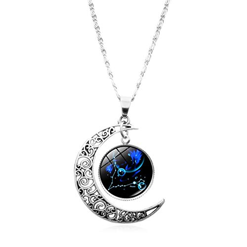 Yosemite12 Constellation Half Moon Zodiac Sign Charm Chain Pendant Necklace Hypoallergenic Astrology Horoscope Pendant Engraved Necklace - Pisces