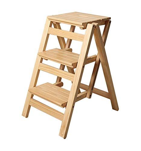 yjll trapladder, inklapbaar, drietraptredenladder, huishouden, hout, massief hout, trappenhuis met dubbele gebruiksdoeleinden