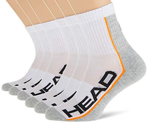 HEAD Unisex Unisex-Erwachsene Performance Short Crew Multipack Socken, 6er Pack, white / grey, 43-46