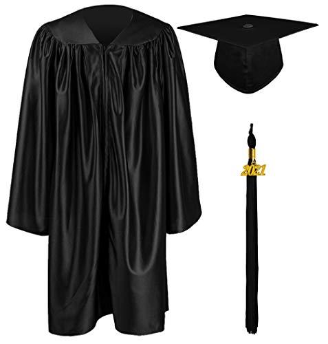 GraduationMall Ragazzo Ragazza Laurea Cappello e Abito per Bambini 2021 Prescolare Scuola Materna Costume Nero 33(123-130cm)