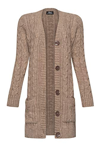 Mikos* Damen Cardigan Lang Elegant Strickjacke Wolle Langarm Strickmantel Mantel Frühling/Winter/Herbst (535) (Mokka, S)