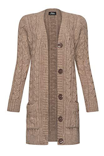Mikos* Damen Cardigan Lang Elegant Strickjacke Wolle Langarm Strickmantel Mantel Frühling/Winter/Herbst (535) (Mokka, M)