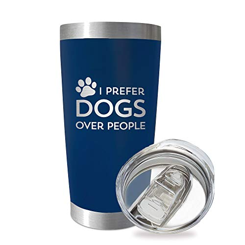 SassyCups Dog Themed Tumbler Prefer Dogs Over People | 20 Ounce Engraved Navy Stainless Steel Insulated Travel Mug | Dog Lover | Rescue Dog Mom and Dad | Dog Owner | Funny Dog Groomer | Walker