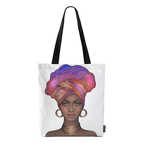 Moslion African American Woman Bags Pretty Girl with Earring Necklace Canvas Handbag Reusable Shopping Bags Casual Shoulder Tote Bag for Women Girls 15x16 Inch