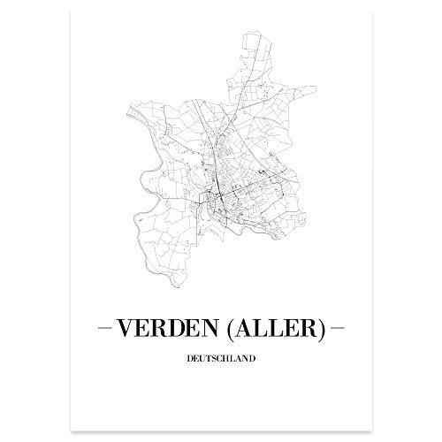 JUNIWORDS Stadtposter, Verden (Aller), Wähle eine Größe, 30 x 40 cm, Poster, Schrift A, Weiß