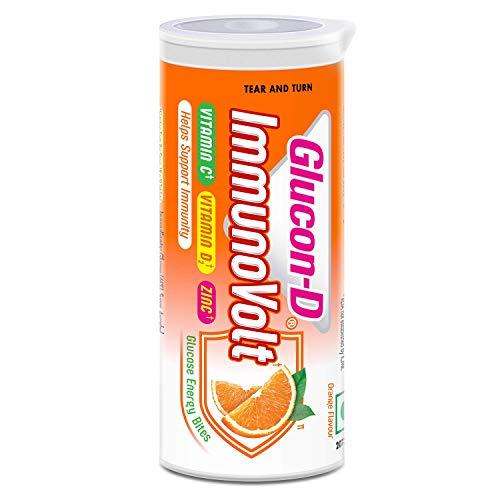 Glucon-D Immunovolt Energy Bite Tube (9 Chewable Tablets) 18gm (Orange - Pack of 10 Tubes)