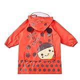 Wasserdicht Regenmantel Kinderregenmantel, Junge, Mädchen Atmungsaktiver Babyponcho mit Taschenregenmantel Schön (Color : Red, Size : S)