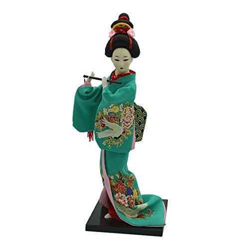 1/6 Vintage Kimono Japonés Geisha Doll Figura Vino Rojo Ropa Decoración para Hogar - Verde