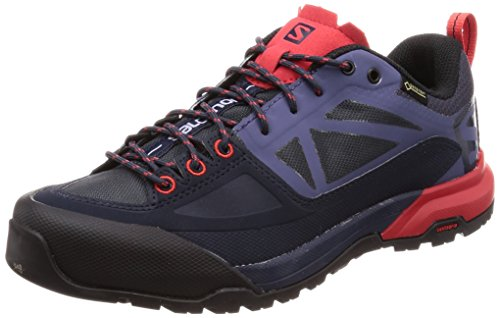 Salomon X ALP SPRY GTX W, Zapatillas de Senderismo para Mujer, Gris (Graphite/Crown Blue/Poppy Red 000), 41 1/3 EU