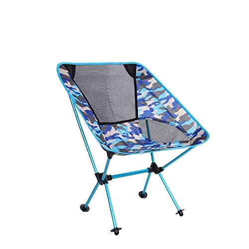 RANGE Outdoor Beach Camping Compact Backpacking Portatile Pieghevole Camouflage Chair Seat for la Pesca Escursionismo Picnic Garden, Super Comfort per Adulti (Color : Blue)