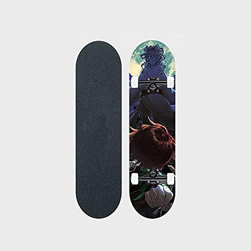 "Demon Slayer Series Anime Skateboard Rui Vs. Kamado Tanjirou Patrón De Transferencia Térmica Tabla De Skate De Arce De 7 Capas Tabla De 31 ""de Largo Rodamiento De Balancín Doble 100 KG Adecuado Para P"
