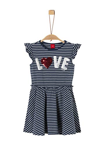 s.Oliver RED LABEL Mädchen Jerseykleid mit Pailletten dark blue stripes 116.REG