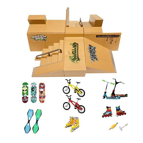 Piezas de Rampa de Kit de Parque de Skate para Dedo Skateboard Accesorios de entrenamiento con 19 piezas